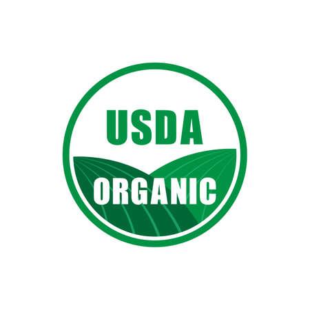 simbolo di timbro certificato biologico usda senza icona di vettore di OGM. Illustrazione di riserva di vettore.
