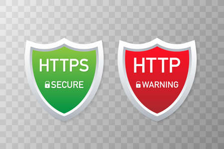 HTTP and HTTPS Protocols. Safe and Secure Wev Browsing. Vector stock Illustration.
