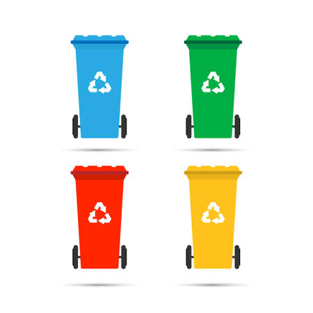 Realistic Set Recycle Bins for Trash and Garbage Isolated on White Background. Waste management concept. illustration in flat design Raster version. Vector stock illustration.