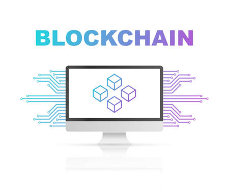 Blockchain icon on computer screen, connected cubes on the display. Symbol of database, data center, cryptocurrency and blockchain. Vector stock illustration.
