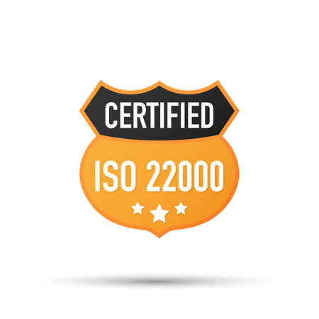 ISO 22000 Certified badge, icon. Certification stamp. Flat design vector. Vector stock illustration.