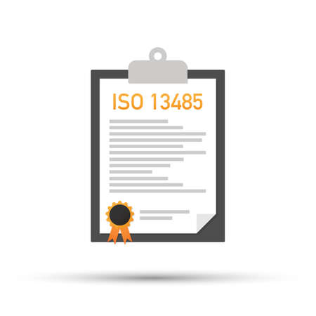 ISO 13485 certified quality management system document paper. Vector stock illustration. 일러스트