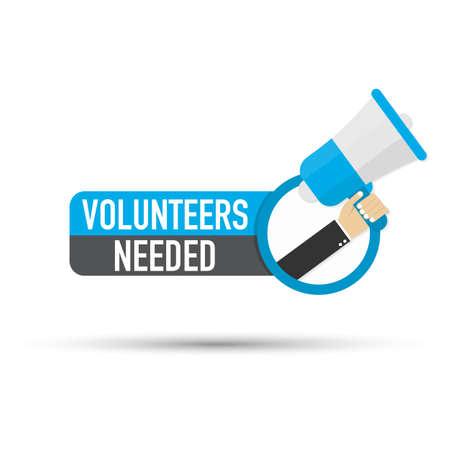 Hand holding megaphone - Volunteers needed. Vector stock illustration.