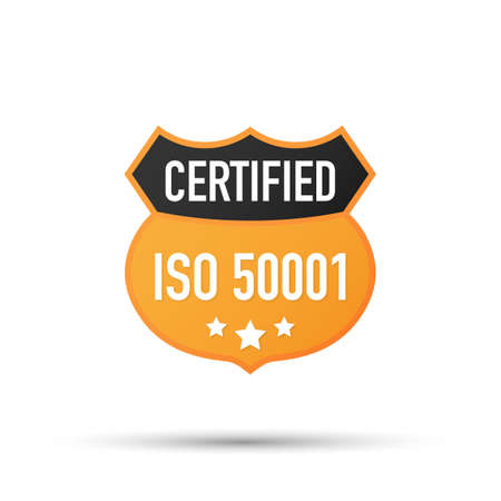 ISO 50001 Certified badge, icon. Certification stamp. Flat design vector. Vector stock illustration. Vetores