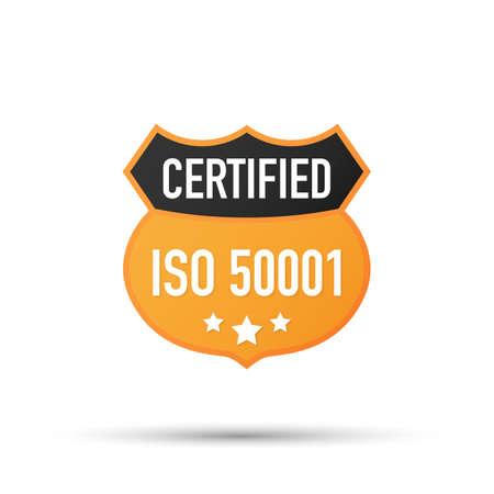 ISO 50001 zertifiziertes Abzeichen, Symbol. Zertifizierungsstempel. Flaches Design-Vektor. Vektorgrafik auf Lager. Vektorgrafik