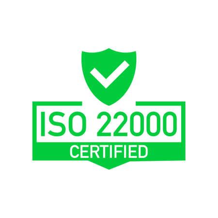 Distintivo certificato ISO 22000, icona. Timbro di certificazione. Vettore di design piatto. Illustrazione di riserva di vettore. Vettoriali