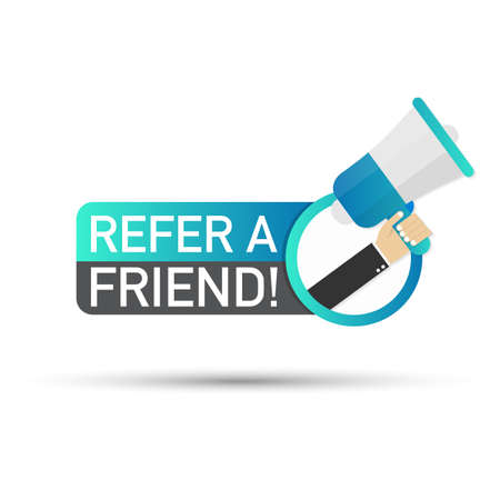 Hand holding megaphone - refer a friend! Vector stock illustration.