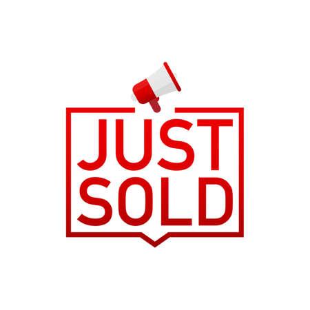 Etiqueta roja Recién vendido sobre fondo blanco. Ilustración de stock vectorial. Ilustración de vector