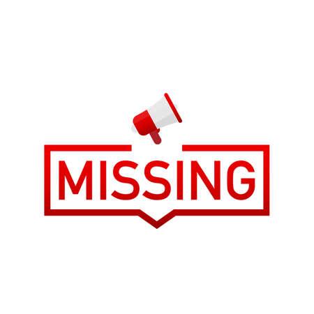 Missing red label on white background. Vector stock illustration.