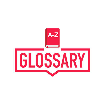 Glossary. Label with book icon. Flat vector stock illustration on white background.