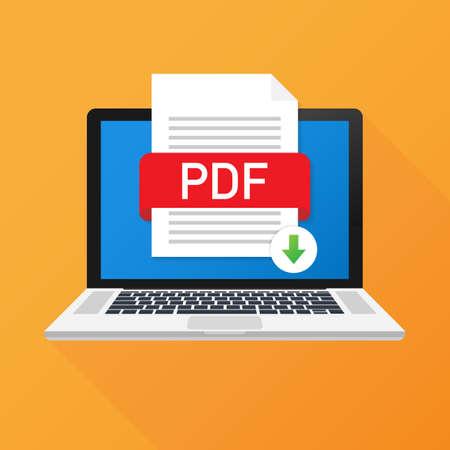 Scarica il pulsante PDF sullo schermo del laptop. Download del concetto di documento. File con etichetta PDF e segno di freccia giù. Illustrazione di riserva di vettore.