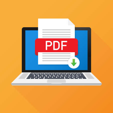Télécharger le bouton PDF sur l'écran d'un ordinateur portable. Téléchargement du concept de document. Fichier avec étiquette PDF et flèche vers le bas. Illustration vectorielle de stock.