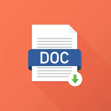 Download DOC button. Downloading document concept. File with DOC label and down arrow sign. Vector stock illustration. 일러스트