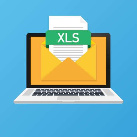 Ordinateur portable avec enveloppe et fichier XLS. Carnet de notes et e-mail avec pièce jointe document XLS. Illustration vectorielle de stock. Vecteurs