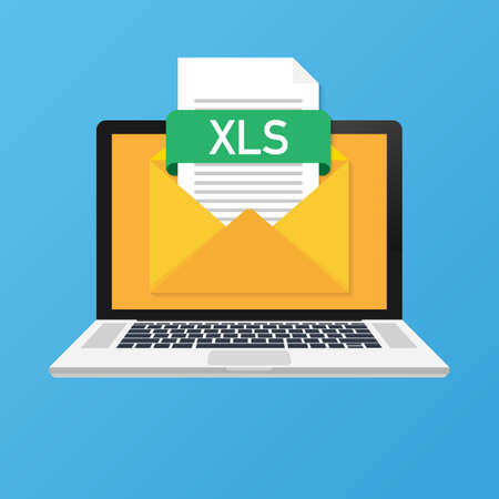 Portátil con sobre y archivo XLS. Cuaderno y correo electrónico con archivo adjunto documento XLS. Ilustración de stock vectorial. Ilustración de vector