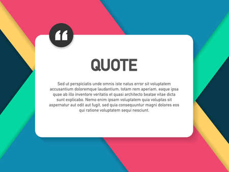 Quote background vector. Creative Modern Material Design Quote template. Vector stock illustration. Stock Illustratie
