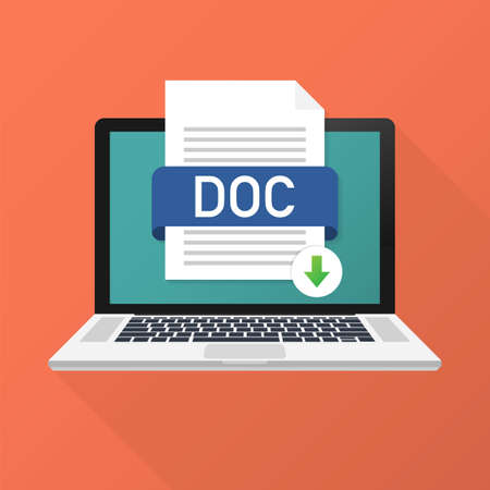 Download DOC button on laptop screen. Downloading document concept. File with DOC label and down arrow sign. Vector stock illustration.