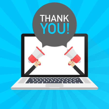 Laptop notebook computer screen. Hand holding megaphone. Thank You! text in speech bubble. Vector stock illustration. Иллюстрация