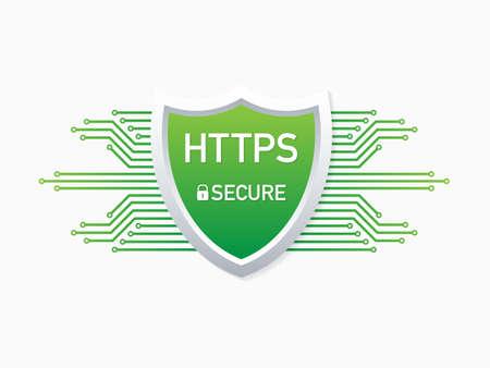 HTTPS Protocol. Safe and Secure Web sites on the Internet. SSL certificate for the site. Advantage TLS. Vector stock illustration. Vector Illustration