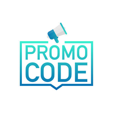 Promo code. Badge, mark on megaphone. Flat vector stock illustrations on white background.