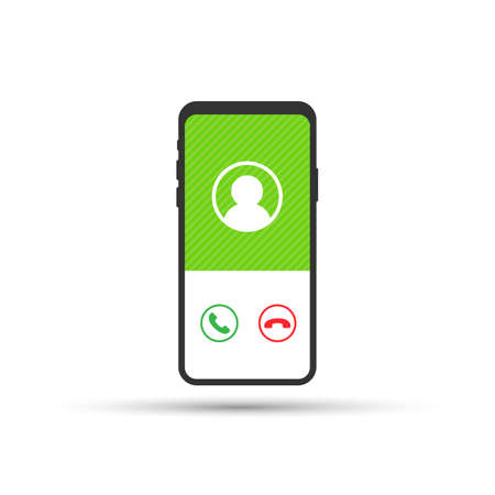 Smartphone with incoming call on display. Vector stock illustration.