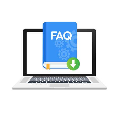 Téléchargez l'icône du livre FAQ avec un point d'interrogation. Icône de livre et aide, comment, informations, concept de requête. Icône de vecteur