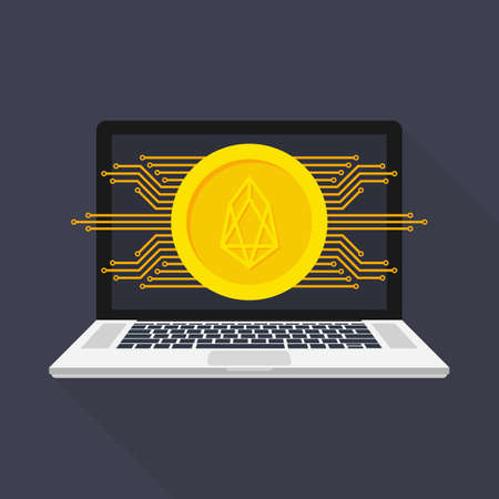 Networks - Business and Global Financial Connections, Cryptocurrency, Eos Trading, Online Banking and Money Transfer Concept Design. Vector stock illustration. Illustration