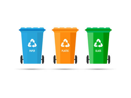 Three trash cans (garbage bins) with recycle mark on a white background. Vector stock illustration.