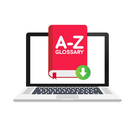 Download Glossary book on laptop. Vector stock illustration. Ilustração