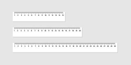 Juego de reglas de madera de 15, 20 y 30 centímetros con sombras aisladas en blanco. Herramienta de medición. Suministros escolares. Ilustración de stock vectorial.