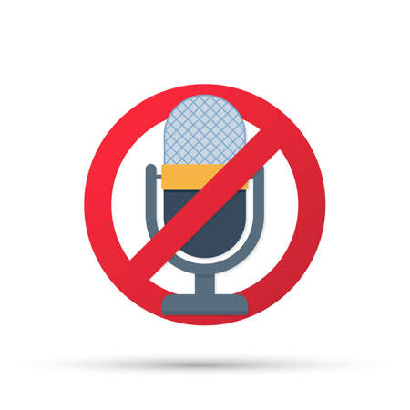 No recording sign. No microphone sign on white background. Vector stock illustration.