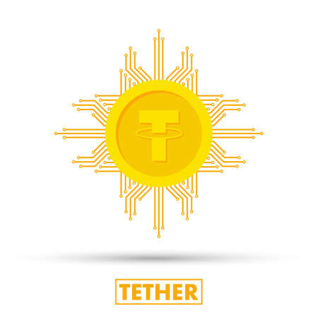 Tether concept. Cryptocurrency logo sigh. Digital money. Block chain, finance symbol. Flat style vector stock illustration
