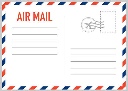 Air mail envelope with postal stamp isolated on white background. Vector stock illustration. Vector Illustration