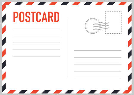 Postal card isolated on white background. Vector stock illustration Иллюстрация
