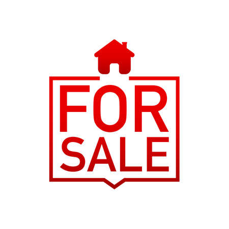 Home for sale sold sign. Vector stock  illustration.