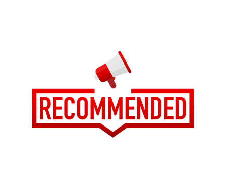 Red label recommended on white background. Vector stock illustration. Illustration