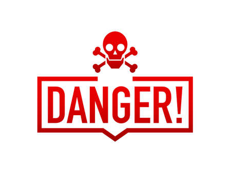 Attention icons danger skull face black and red button and attention warning sign. Vector stock illustration. Vecteurs