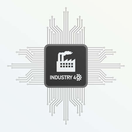 Processor with text Industry 4.0 on the gray background. Vector stock illustration.
