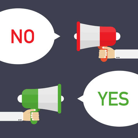 Male hand holding megaphone with Yes and No speech bubble. Vector stock illustration. Illustration