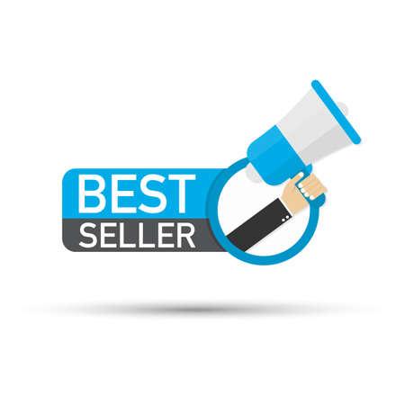Mano que sostiene el megáfono - Best seller. Ilustración de stock vectorial. Ilustración de vector