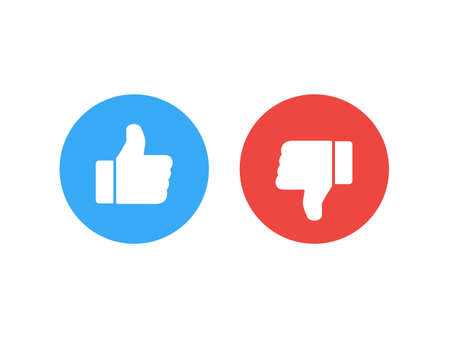 Thumb icons. like and dislike. vector stock illustration.