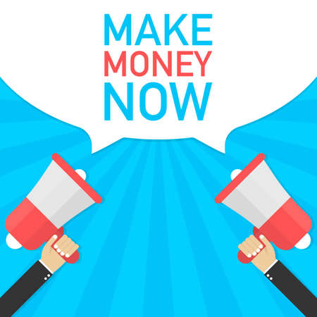 Hand Holding Megaphone with MAKE MONEY NOW. Vector stock illustration. Vektorové ilustrace