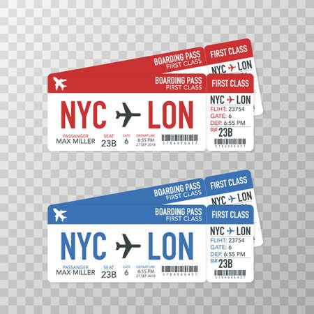 Bordkarten der Fluggesellschaft zum Flugzeug für die Reise. Vektorgrafik auf Lager. Vektorgrafik