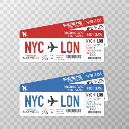 Airline boarding pass tickets to plane for travel journey. Vector stock illustration.