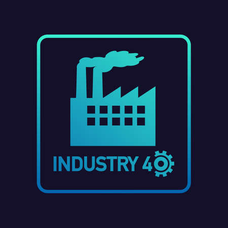 Industry 4.0. Industrial concept art for further development of modern factories. Vector stock illustration. Ilustração Vetorial