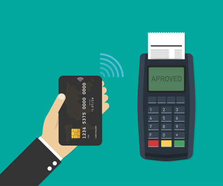 Payment terminal. Pos machine with credit card. Vector stock illustration.