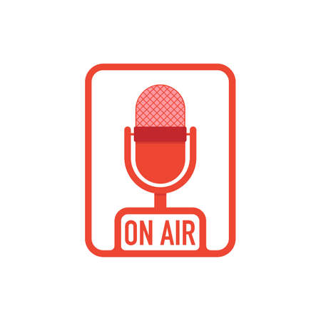 Podcast radio icon buttons set. Studio table microphone with broadcast text on air. Vector stock illustration.