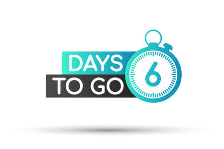 Six days to go. Flat icon. Vector typographic design. Vector stock illustration. 矢量图像
