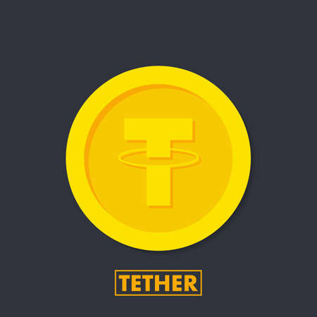 Tethet (USDT) crypto currency icon for apps and websites. Tethet logo for web and print. Vector stock illustration.