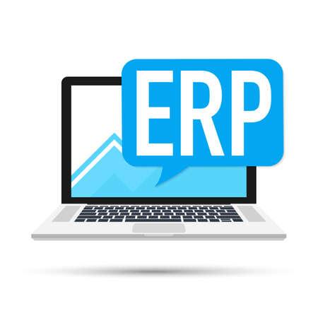 ERP software, enterprise resource planning vector stock illustration Illustration